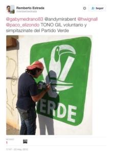 """""""Toño Gil voluntario y simpatizante del Verde"""", difunde orgulloso"""